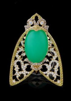 Master Exclusive Jewellery, collection World of Insects, jersey tiger pendant, chrysoprase and diamonds