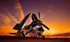 FG1D Corsair  At Sunset . . .  lovely sight.  ~ LOVE THEM!!  If I EVER want get the money I want to buy one of these AND a decommissioned F - 14!! ♥ ♥ ♥ >^.,.^<.