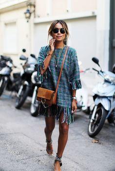 street style - street chic style - summer outfits - casual outfits - beach outfits - getaway outfits - spring / summer - fall / winter - short sleeve fringe tweed dress + brown shoulder bag + black sandals + aviator sunglasses