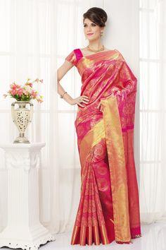 Pink pure silk appealing zari weaved saree with gold border -SR10352 | pink kanjeevaram sarees | #designersilksaree #puresilksaree