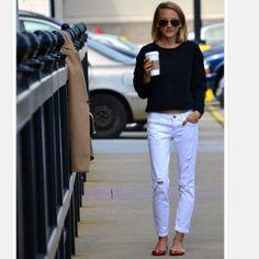 Cropped Sweatshirt & White Pants