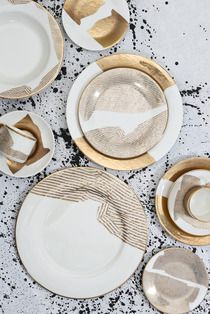 My Bedford and Doheny fine china patterns. Xk #kellywearstler #finechina #entertaining #bedford #doheny #pickard #gold