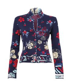 Ivko style 61515 collar jacket, floral pattern, navy. Whimsical cherries and blossoms grace the front, back and sleeves of this Ivko jacket. The fit is semi-adjusted, with a notched stand collar as a