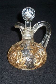 Vintage Cut Glass blown cruet