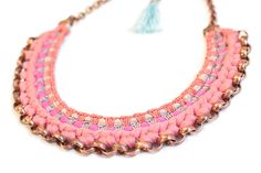 Tribal Statement Necklace Coral Red Ethnic Bib Fabric by gudbling