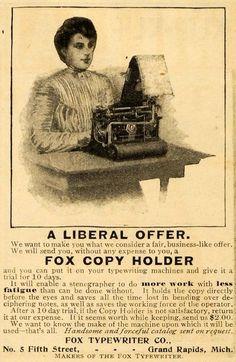 Ad for Fox Typewriter Co. typewriting machine, No. 5 Fifth Street - 1902