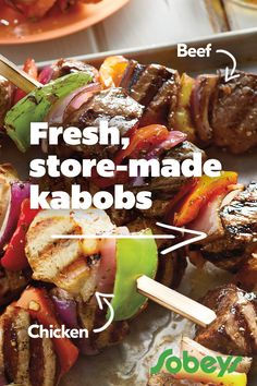 Cut down prep time with our fresh Store-Made Kabobs, all you have to do is grill 'em up. Beef Recipes, Low Carb Recipes, Chicken Recipes, Cooking Recipes, Healthy Recipes, Kabob Recipes, Enchilada Recipes, Lunch Recipes, Recipies