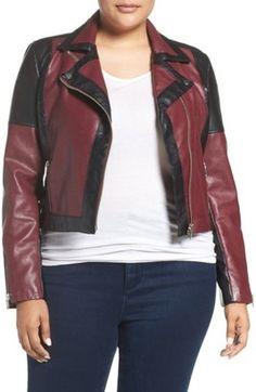 Shop Now - >  https://api.shopstyle.com/action/apiVisitRetailer?id=541584665&pid=uid6996-25233114-59 Plus Size Women's Tart 'Justine' Colorbock Faux Leather Jacket  ...