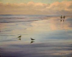 One Last Walk on the Beach original artwork oil by MARVINSTUDIO  SOLD SOLD THANK YOU! Original Paintings For Sale, Original Artwork, Beach Walk, Pastel Colors, Walking, Clouds, Oil, Sunset, The Originals