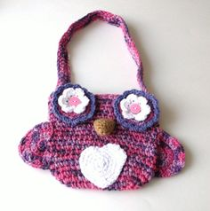 Crochet Owl Tote Bag Purse, Girls Pink and Purple Crocheted Owl Tote Bag. $18.50, via Etsy.