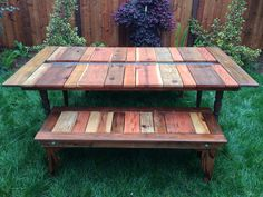 38 Easy DIY Patio Tables You Can Build on a Budget Reclaimed Wood Flat-Pack Picnic Table With Plante Outdoor Wood Table, Pallet Picnic Tables, Diy Picnic Table, Picnic Table Plans, Diy Table, Outdoor Decor, Outdoor Pallet, Pallet Bench, Pallet Chairs