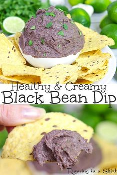 Healthy & Creamy Black Bean Dip Healthy & Creamy Black Bean Dip Healthy & Creamy Black Bean Dip recipe- Easy, Mexican - Southwestern style cold dip or spread with cilantro and greek yogurt. Perfect with tortilla chips. / Running in a Skirt Healthy Dip Recipes, Healthy Beans, Bean Dip Recipes, Healthy Dips, Clean Eating Recipes, Yummy Recipes, Vegetarian Recipes, Healthy Food, Kitchens