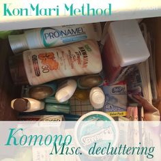 KonMari Method - komono, or miscellaneous decluttering. From the Life-Changing Magic of Tidying Up by Marie Kondo