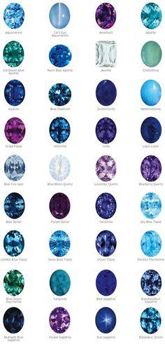 Blue and violet Gems
