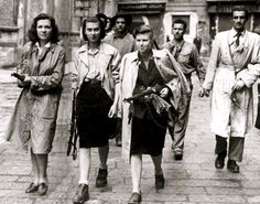 Female members of the French Resistance (1940s). (If you want to know more about these women's extraordinary courage, read the book Train in Winter.)