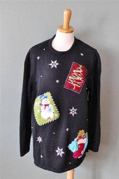 Ugly Christmas Sweater Women XL men L scenes Snowman Cotton black sequins CS27 #HolidayEditions #Crewneck