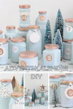 Adventskalender aus recycelten Marmeladengläsern ist ganz schnell gemacht und s… Advent calendar made of recycled jam jars is done very quickly and looks just perfect in this color combination. Winter Christmas, Christmas Time, Christmas Crafts, Xmas, Christmas Images, Advent Calenders, Diy Advent Calendar, Christmas Wonderland, Diy Y Manualidades