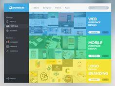 Portfolio Screen for Design Dashboard App - Web User Interface