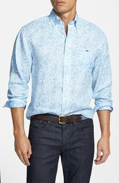 Vineyard Vines 'Tucker - Tropical Leaves' Classic Fit Sport Shirt available at #Nordstrom