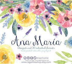 Flores en Acuarela Clipart PNG pintadas a mano por LagartixaShop #flowers #acquarello #acuarela #florals #bouquet #bridetobe #graphics #handpainted #handmade #crafs