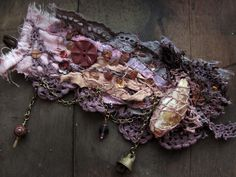 Bohemian Pages: Boho Jewelry - fabric lace purple cuff Textile Jewelry, Fabric Jewelry, Boho Jewelry, Jewelry Art, Handmade Jewelry, Male Jewelry, Vintage Jewelry, Textiles, Fabric Bracelets