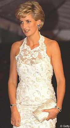 Diana wearing a Catherine Walker designed pearl, sequin and crystal embroidered Riechers lace dress at the fund raising gala for the Nina Hyde Centre for Breast Cancer Research in Washington, DC September, 1996.  The embroidery was designed to emulate the subtlety of antique pearls.  Catherine Walker since deceased, was recovering from breast cancer at the time.