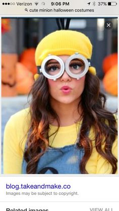 To complete your minion halloween costume you need some minion goggles! We have a range of ready to buy goggles and also a DIY guide. Two eyed or one eyed? Minion Halloween Costumes, Halloween Kostüm, Diy Costumes, Costumes For Women, Costume Ideas, Diy Minion Kostüm, Minion Party, Minions Fancy Dress, Costumes