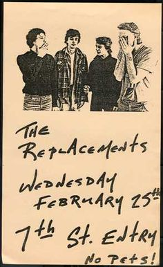 Handbill for Replacements show at the 7th St. Entry, February 25, 1981.