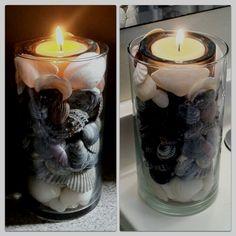 DIY beach shell candle holder