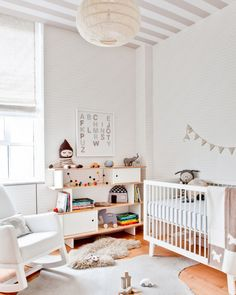 Gender Neutral Nursery with Striped Ceiling