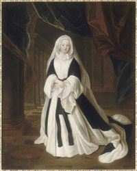The Duchess of Bourbon was the daughter of Louis XIV and Madame de Montespan. In 1685 she was betrothed to the Prince of Condé at the Porcelain Trianon during a lavish banquet, the memory of which remains associated with the first Trianon palace.    Here the artist shows her in mourning after her husband's death in 1710, with an ermine-lined coat, which only duchesses wore, and a veil of Holland linen.