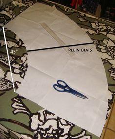 Jupe sans patron , Patron couture gratuit astucieux jupe en biais sur 1/4 de cercle impeccable