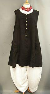La Bass~ BLACK ~Lovely ~ Linen Dolly Dress/Tunic ~ Sizes 1 & 2 &3 | eBay