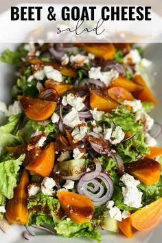 Golden Beets Recipe, Roasted Beet Salad, Beet Salad Recipes, Roasted Beets Recipe, Beet Goat Cheese Salad, Vegetarian Recipes, Healthy Recipes, Healthy Dinners, Salads