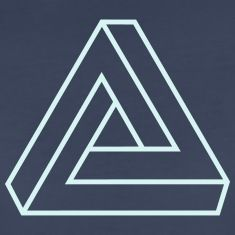 Penrose triangle, Impossible, illusion, Escher Tee shirts