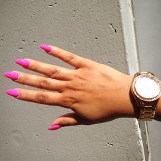 Love these hot pink stillettos