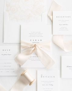 clear pure white modern wedding invitations