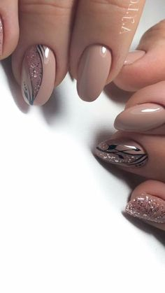 cute nail art designs for short nails 2019 20 Classy Nail Designs, Cute Nail Art Designs, Fall Nail Designs, Beautiful Nail Designs, Stylish Nails, Trendy Nails, Cute Nails, Ongles Beiges, Nail Effects