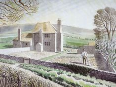 Winter Linns — Shepherd's Cottage, Firle, East Sussex by Eric. Landscape Art, Landscape Paintings, Landscape Drawings, Champs, Art Graphique, East Sussex, Great Artists, Illustrators, Illustration Art