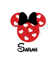 Personalized Valentine Heart Minnie Mouse Disney  iron on for shirt