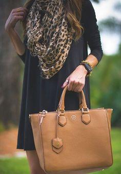 leopard print scarf, black dress, taupe bag... stunning