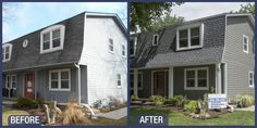 Before & After James Hardie Pearl Gray siding in Naperville