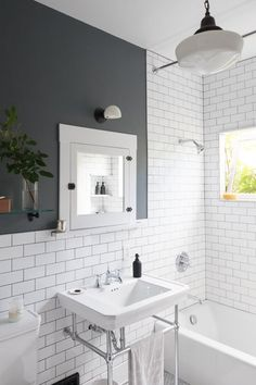 Before & After: A DIY Couple Tackle Their 1915 Craftsman in San Diego - Photo 19 of 20 - White subway tiles and dark grout give the new bathroom a crisp, clean look. Bathroom Interior, Modern Bathroom, Small Bathroom, Colorful Bathroom, Small White Bathrooms, Small Rooms, Master Bathroom, Bad Inspiration, Bathroom Inspiration
