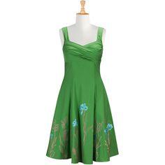 Floral embellished sweetheart poplin dress ($49) ❤ liked on Polyvore