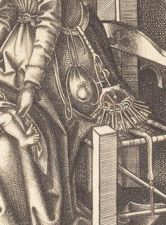 Israhel von Meckenem, Birth of the Virgin, 1490/1500, detail of keys and belt.