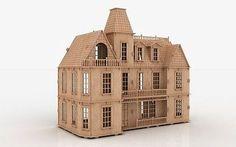 3d Puzzle Bostonian Mansion Dollhouse Cnc Router Pattern Laser Plan Dxf Bm