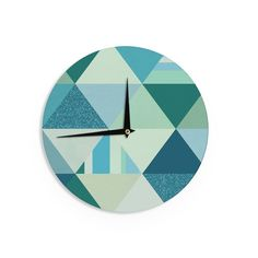 "Noonday Design ""The Triangle Blues"" Geometric Blue Wall Clock - KESS InHouse"