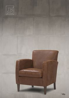 Fauteuil Vito in bruin leer / leder