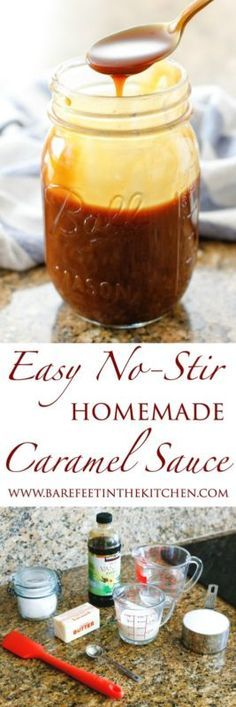 Smooth, creamy, buttery, and sweet Homemade Caramel Sauce is possible without spending a single minute stirring over a hot stove. When I made caramel sauce for the first time it required me to stand and. Homemade Caramel Sauce, Caramel Recipes, Caramel Cakes, Dessert Sauces, Dessert Recipes, Baking Recipes, Mayonnaise, Chutney, Meringue