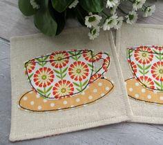 Sunflower Fabric Coasters - Summer Coasters - Floral Tea Cup Coasters